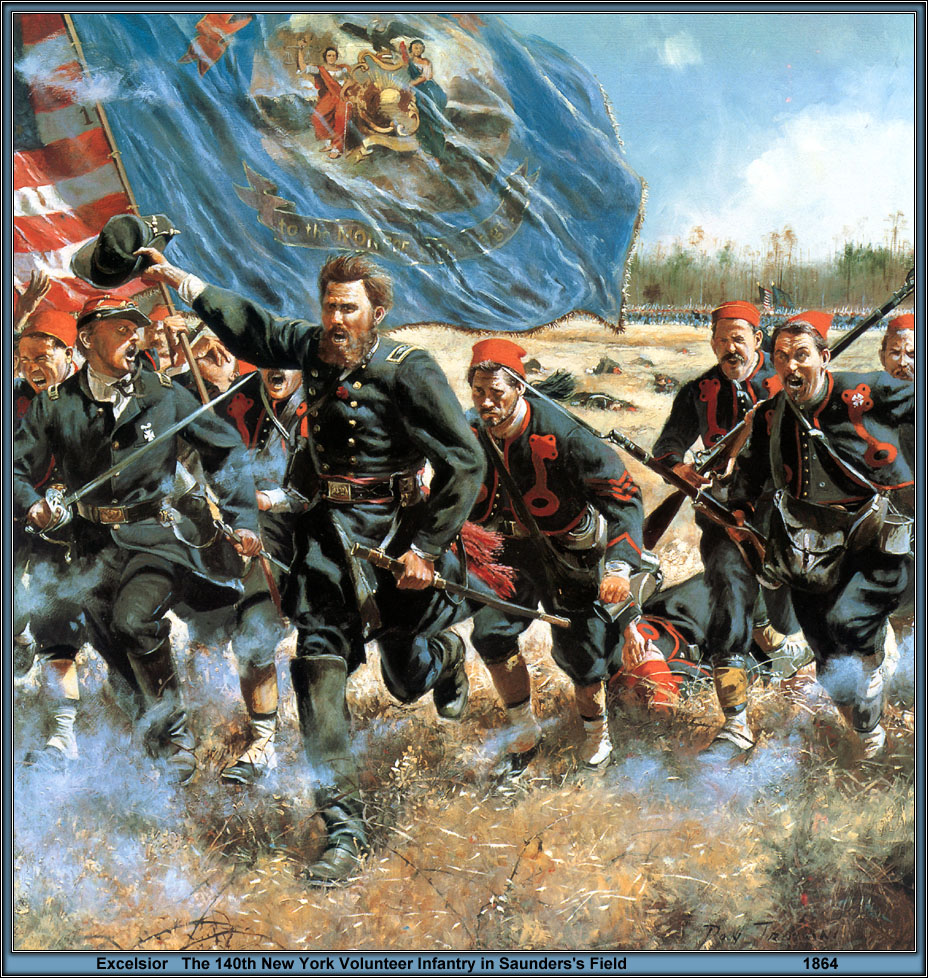 "A Don Troiani painting, ""Excelsior,"" that shows the 140th New York charge across Saunders Field"