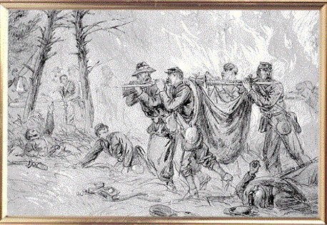 Sketch of Union soldiers trying to save their wounded comrades from the raging forest fire caused by the heavy fighting that went on all day and into the evening.
