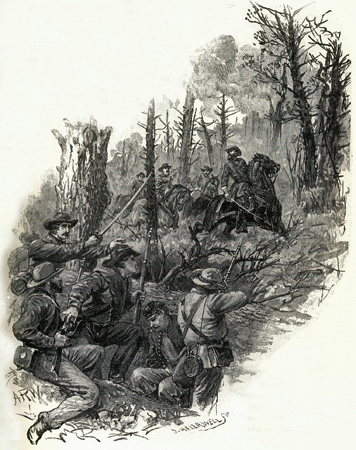 A depiction of the 12th VA firing on CSA General James Longstreet. This friendly fire incident was eerily similar to the friendly fire incident nearby two years previous that killed CSA General Stonewall Jackson. Longstreet recovered from his woulds