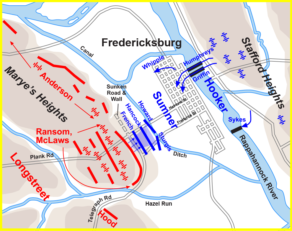 Battle Plans for Fredericksburg (the southern part was the stone wall)