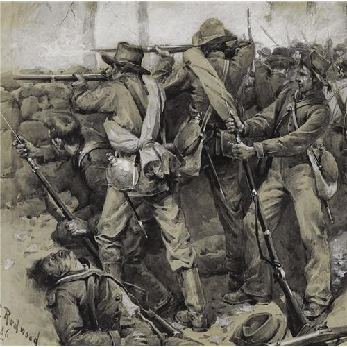 Painting of Confederate soldiers firing from the stone wall