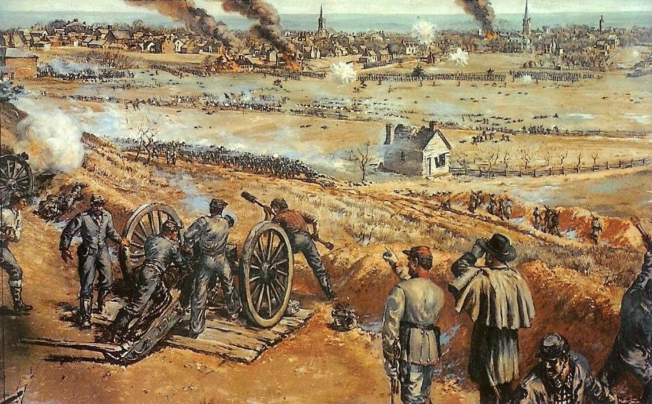Battle of Fredeircksburg as it would have seen by those behind the Confederate artillery. The house in the center, is the Innis House