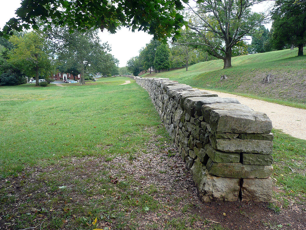 Restored portion of stone wall