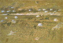 Alfred Waud's sketch of men under Union General Andrew Humphreys charging the stone wall