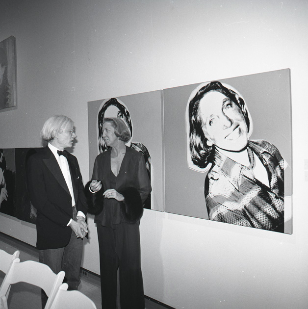 Andy Warhol Visiting a Special Warhol Exhibition, 1976