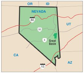 This map shows the location of the park in Nevada.