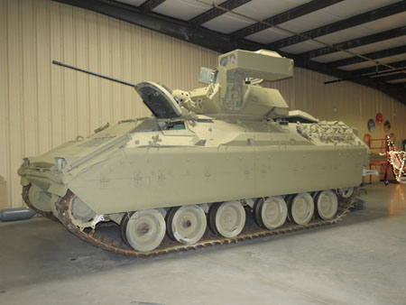 Freshly restored Bradley Tank that has been brought inside and is now open to be toured.