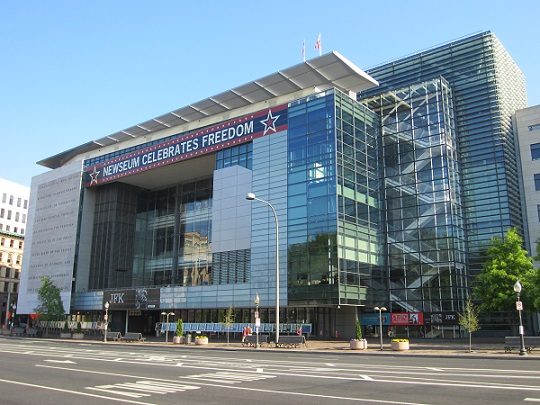 "The facade of the Newseum is meant to provide a ""window on the world"" for both passersby and visitors."