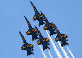 Blue Angels F/A-18's in tight formation