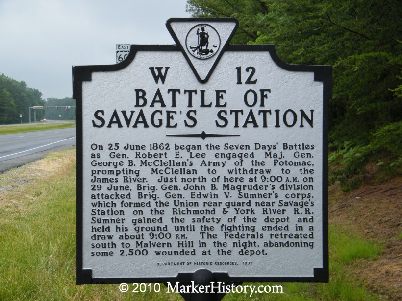 Battle of Savage's Station Historic Marker