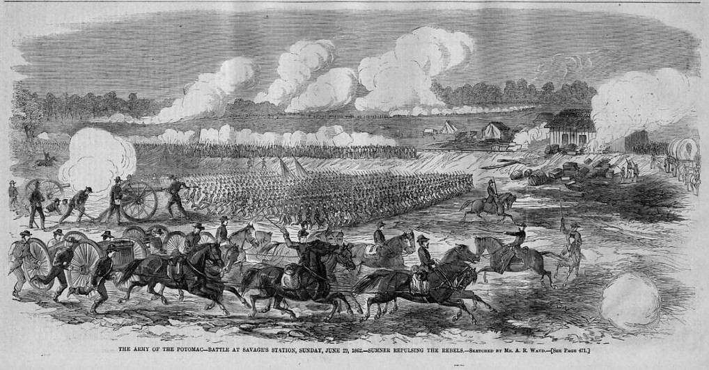 Engraving by A.R. Ward depicting the Battle of Savage's Station