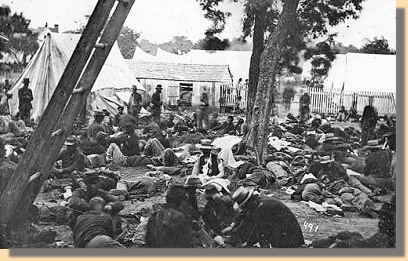 Confederate Field Hospital after the battle with the abandoned Union wounded