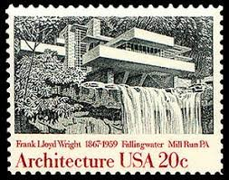 In 1982, the United States Postal Service issued stamps that focused on notable architectural works. The series, issued in Washington, DC, included Frank Lloyd Wright's Fallingwater.