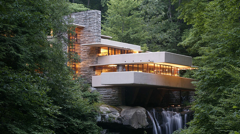 Fallingwater taken from its most popular perspective.
