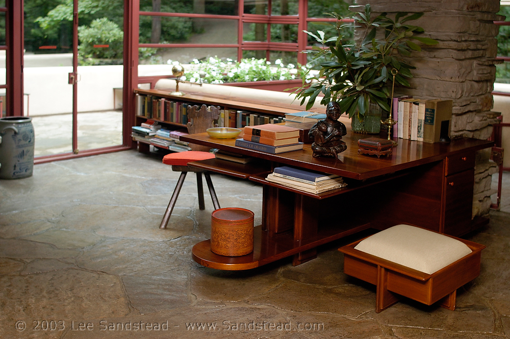 Small library and reading area within Fallingwater.