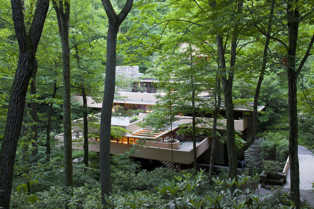 Fallingwater blending into the surrounding landscape.