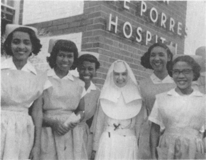 Sister Mary Celeste, R.S.M., first administrator, and nurse's aides (no date, pre-1964)
