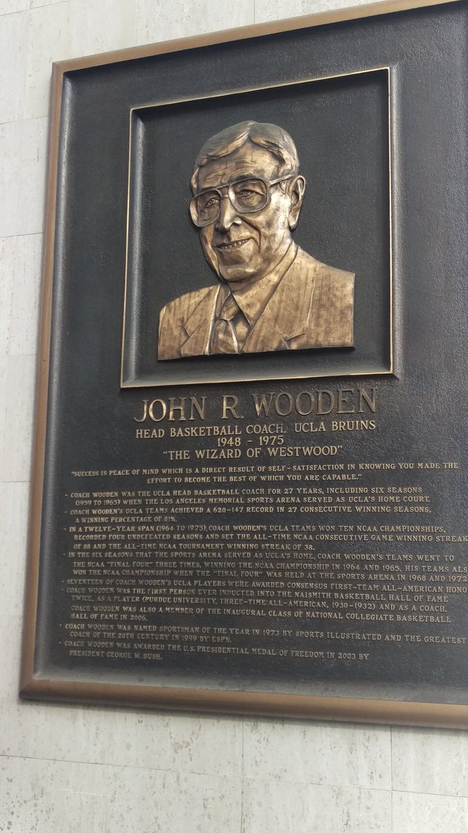 John Wooden plaque outside of the L.A. coliseum next door to the arena