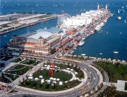 """Navy Pier extends more than 3,000 feet out into Lake Michigan. It formed part of Daniel Burnham's famous """"Plan of Chicago,"""" upon which many of the city's 20th Century modernizations were formulated."""