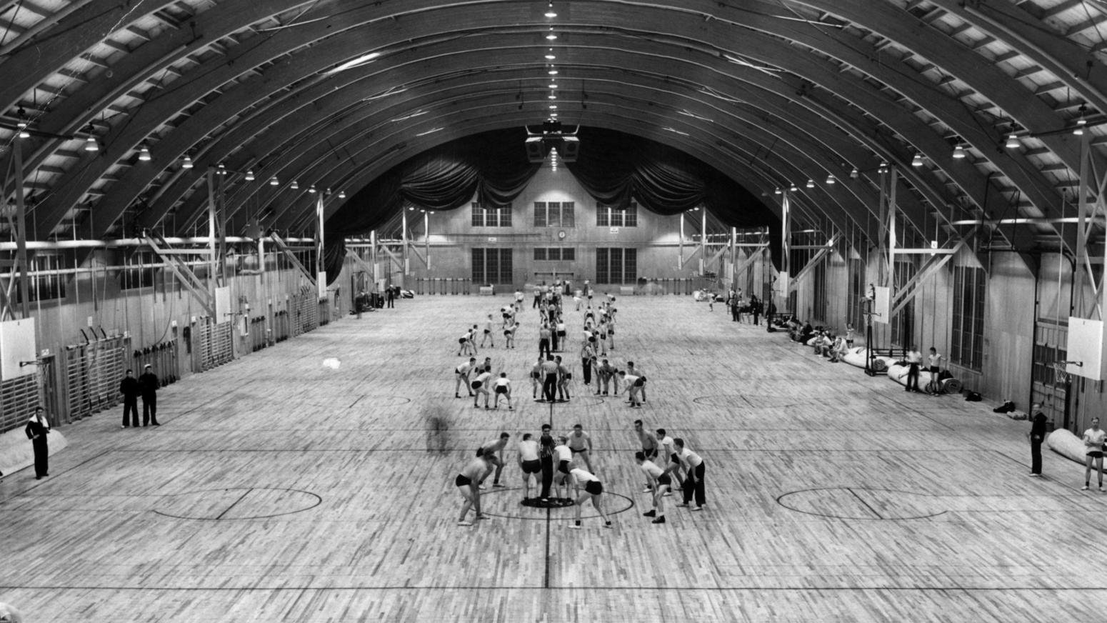 The gym and drill hall for the Navy facility in November 1942. Chicago Tribune photo.