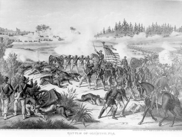 An artist's rendition of the battle.
