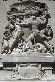 """Defense"" - a sculpture created by Henry Hering to commemorate the event. The sculpture depicts an officer from the Fort fighting with some