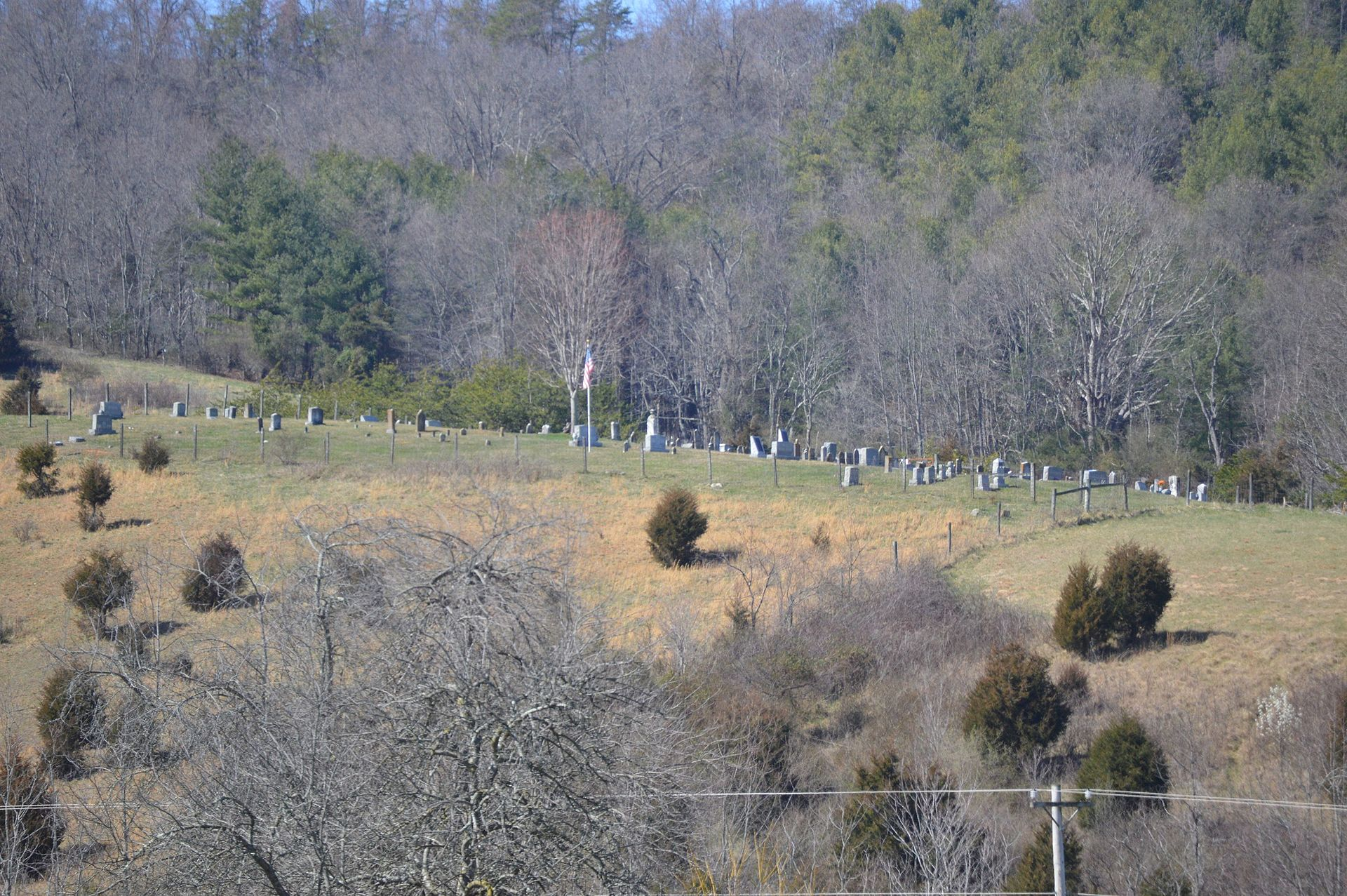 View from the south of the white section of the Shannon Cemetery