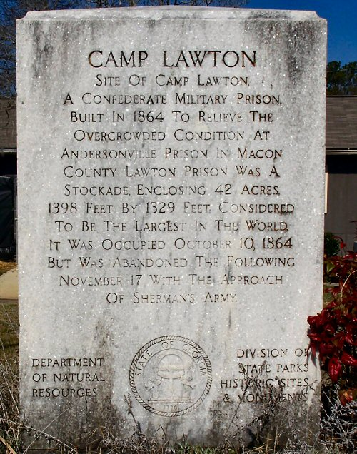 A plaque with a brief history of Camp Lawton.