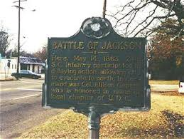 Plaque about the Battle of Jackson that occurred here.