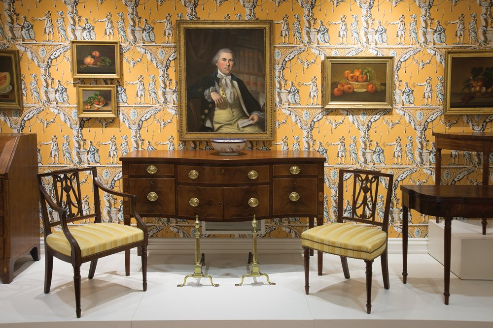 The Marcia and Henry DeWitt Gallery in 2015, after the museum's three-year renovation. Featured are works by the family of Charles Willson Peale as well as Federal furnishings from Delaware.