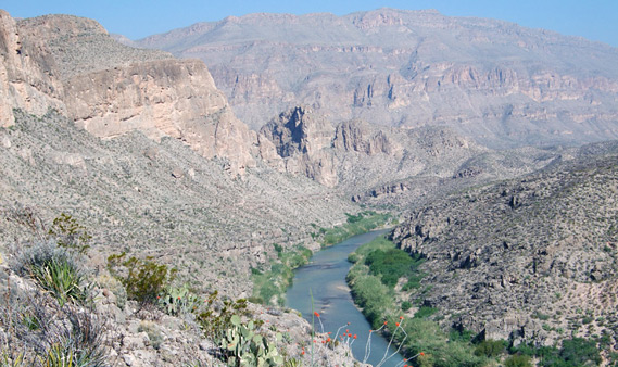 Boquillas Canyon in Big Bend. Big Bend National Park is located along the Rio Grande river, which is the border between Texas and Mexico.