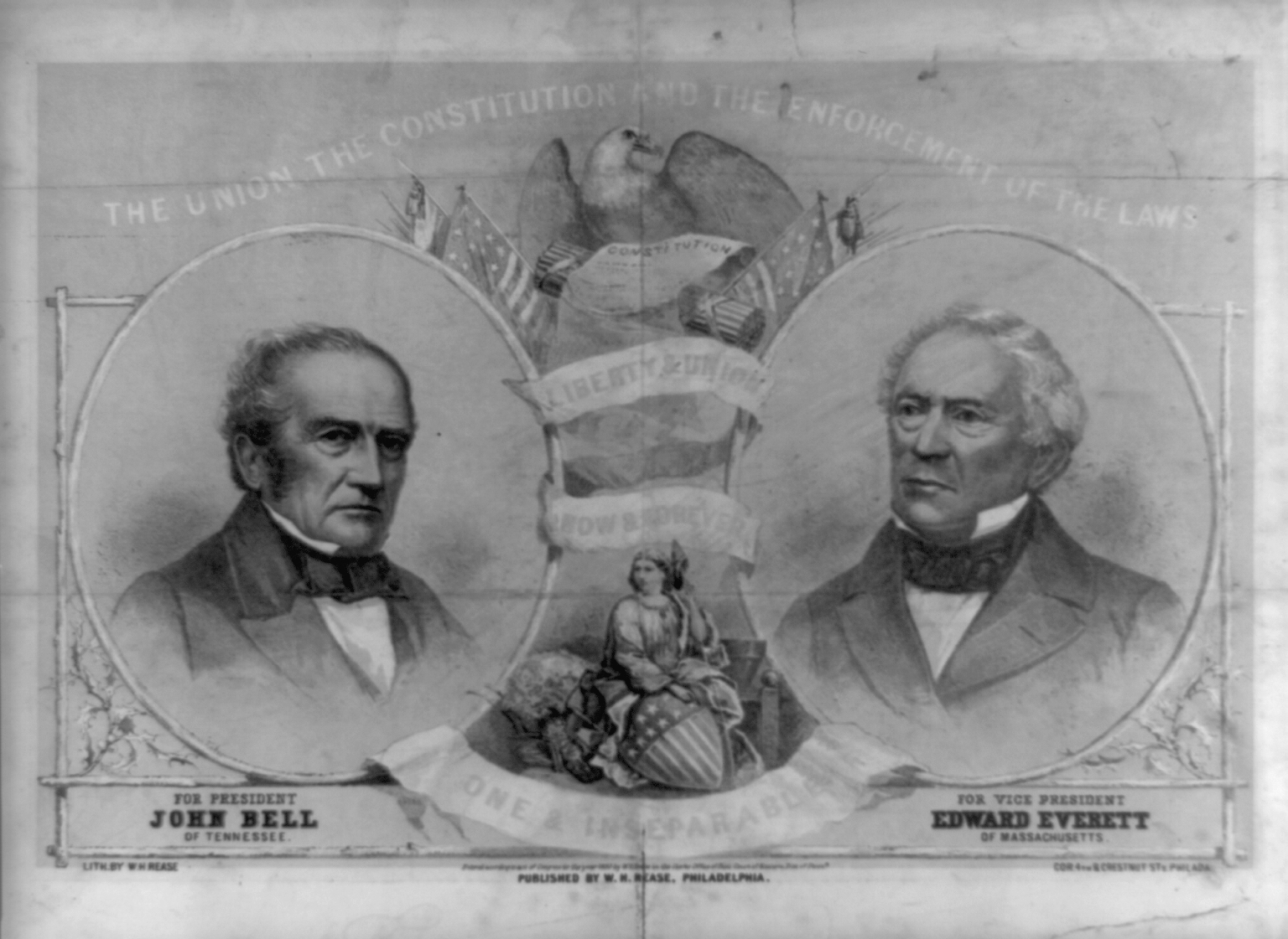 Constitutional Union campaign poster depicting Bell & Everret