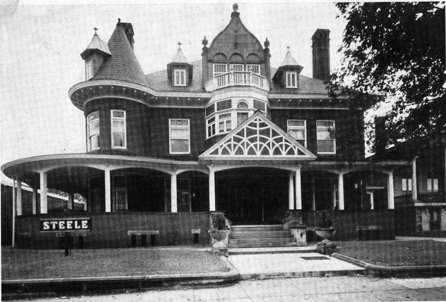 The Enslow Mansion sometime after its conversion into the Steele Funeral Home. Image courtesy of Marshall University Special Collections.