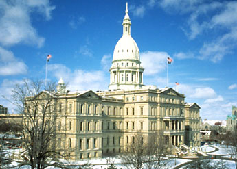 The Michigan State Capitol was built over seven years and features an interior filled with hand-painted murals and Victorian-era furnishings.