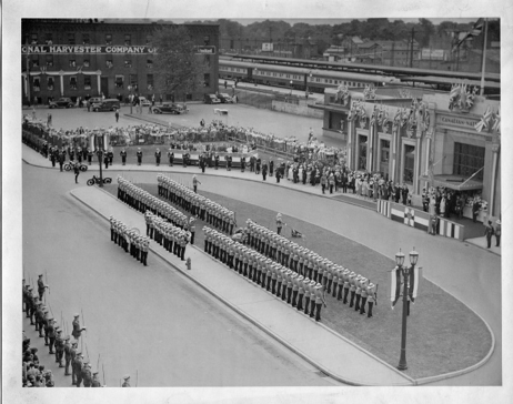 King George VI and Queen Elizabeth at the CNR Station on York Street, 1939.