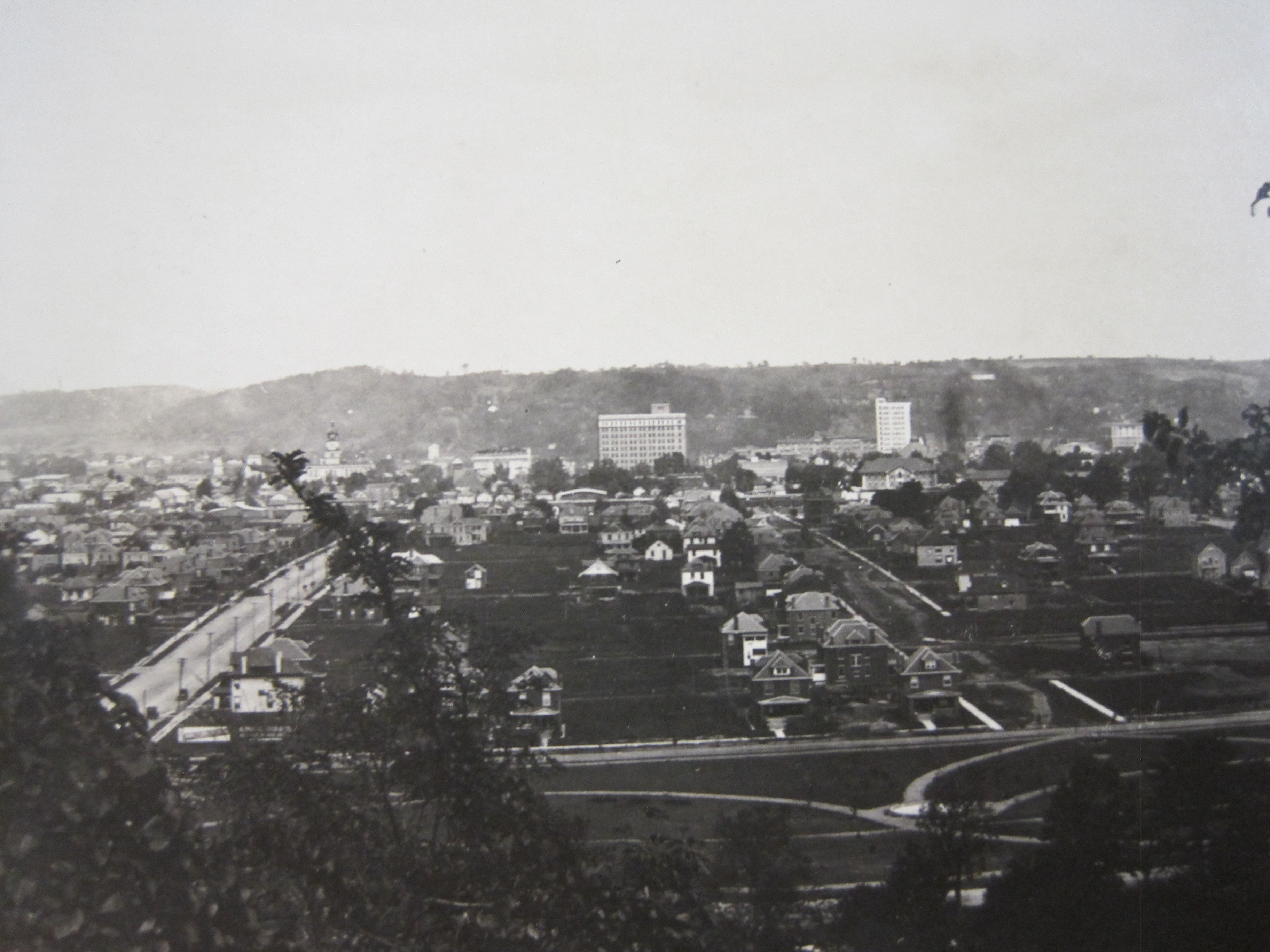 Birdseye view of Ritter Park, with view of 8th Street to the left, circa 1913.