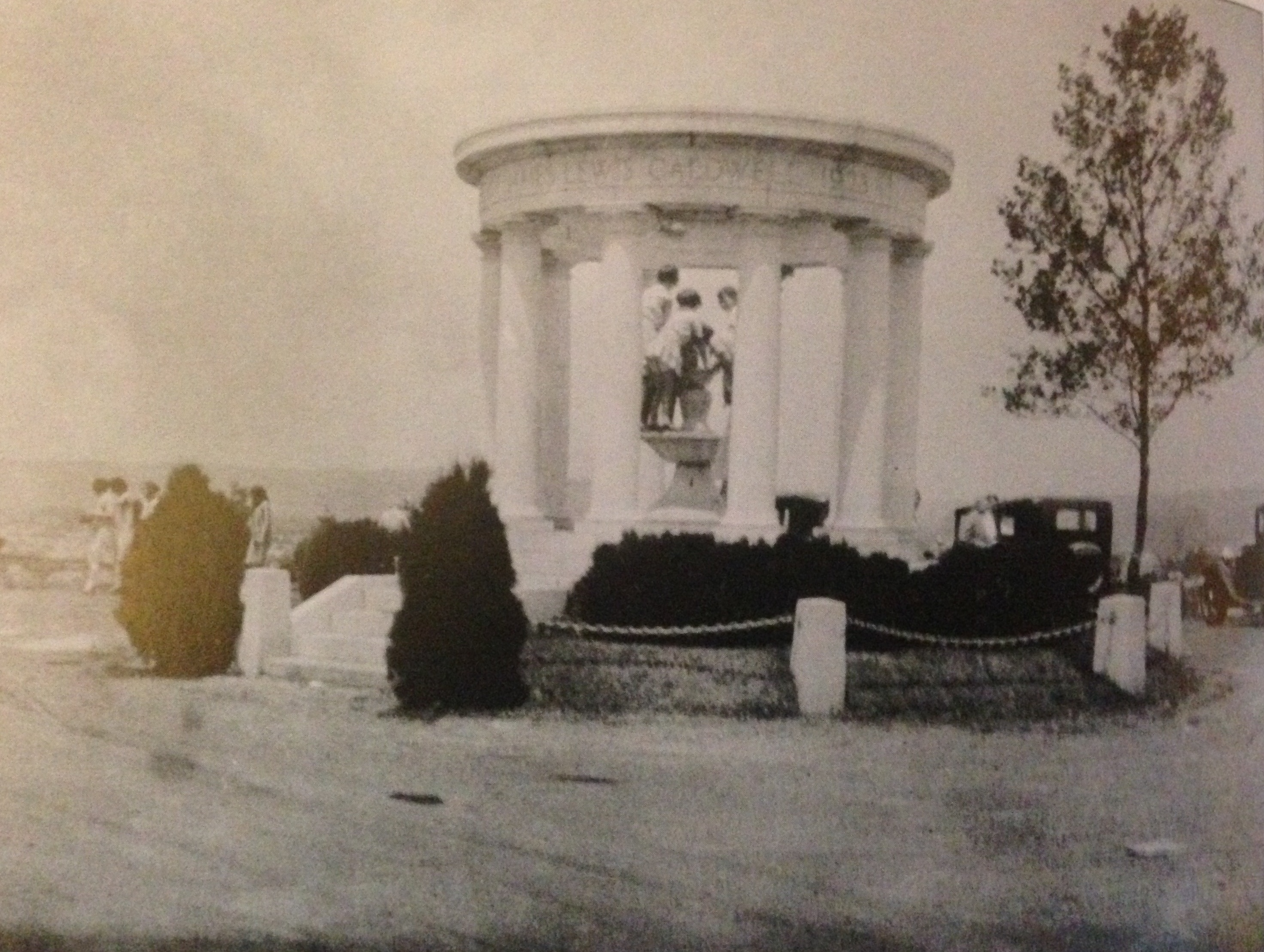 James Lewis Caldwell Memorial, formerly located atop Gobblers Nob, erected in 1926, demolished in 1945.