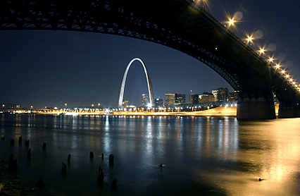 At night time from the Eads Bridge you can see the Gateway Arch.