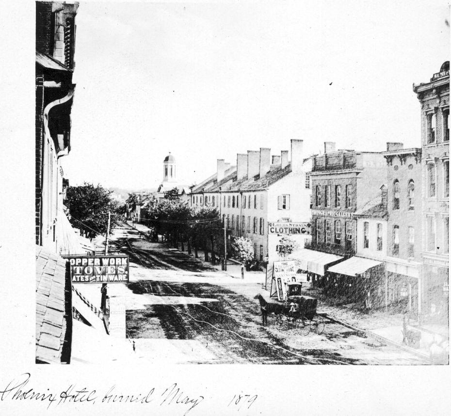 The Phoenix Hotel burning down in 1879. This was the second fire at this location, with the first coming at the beginning of the century with the burning down of Postlethwait's Tavern.