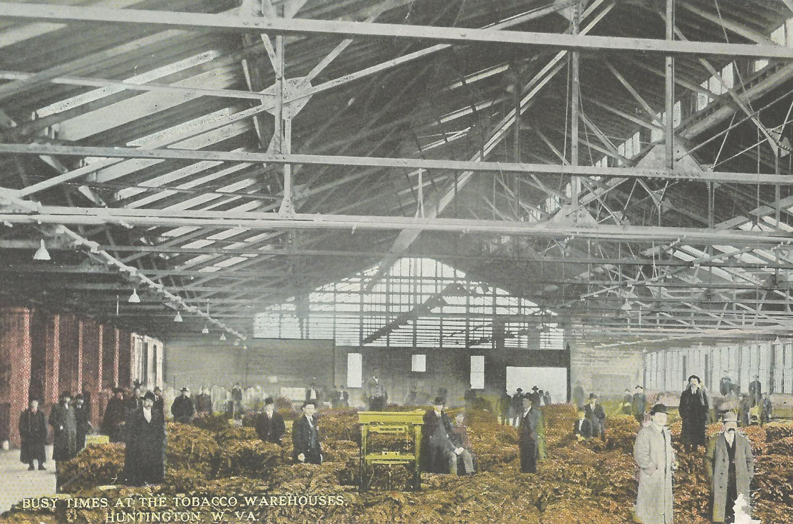 Postcard of the Huntington Tobacco Warehouse, 1914