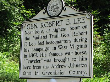Historical Marker for Lee's tree and camp site on Sewell Mountain along the Midland Trail.