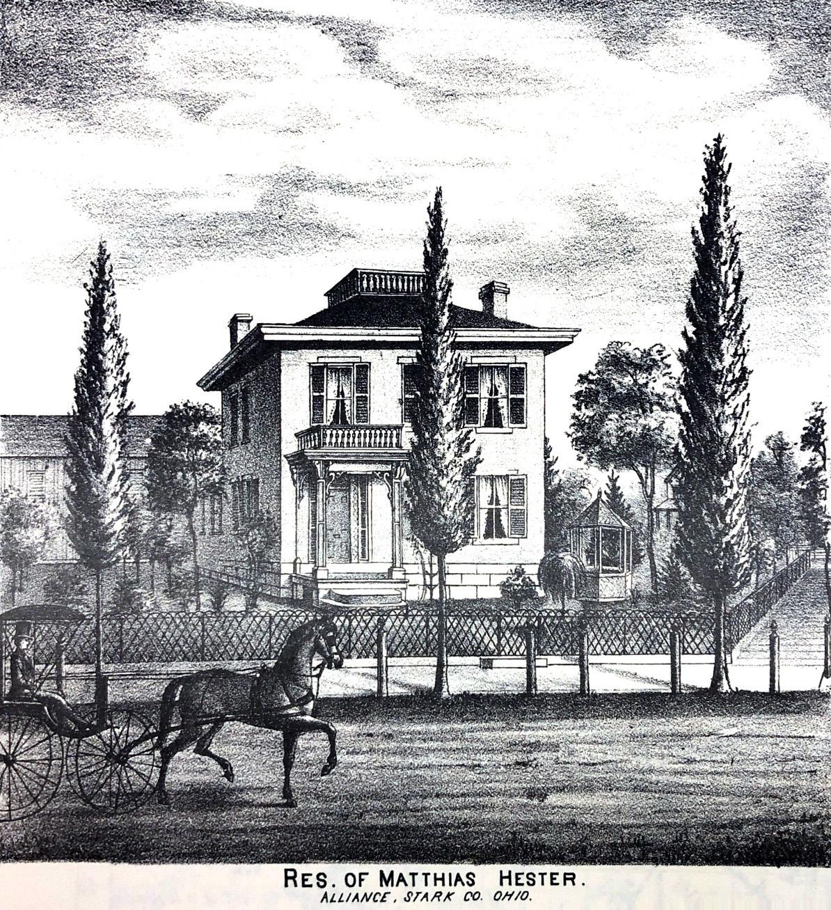 The residence of Mathias Hester, built in 1869, on the southwest corner of N. Mechanic Avenue and Hester Avenue