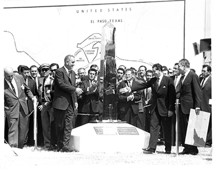 President Lyndon B. Johnson and Adolfo Lopez Mateos at the September 25, 1964 unveiling of the new boundary marker.