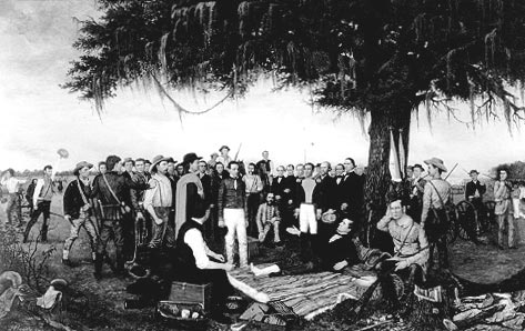 This picture shows the Surrender of Santa Anna's troops