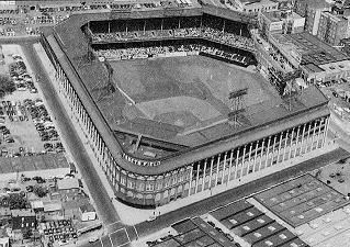 An aerial view of Ebbets Field