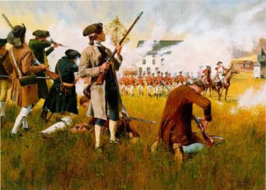 """Stand Your Ground"" depicts the first fighting of the Revolution on Lexington Common (Oil on hardboard, by Don Troiani, 1985)"