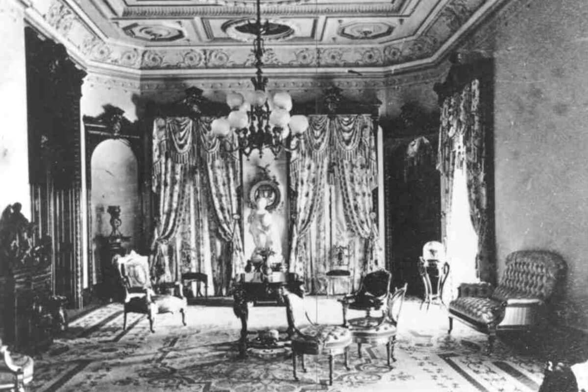 A historic photo of the Drawing Room in the Lockwood era
