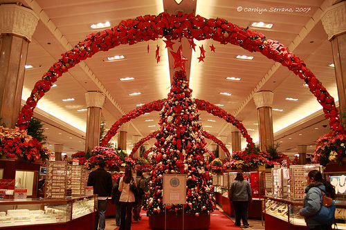 Inside Macy's during Christmas