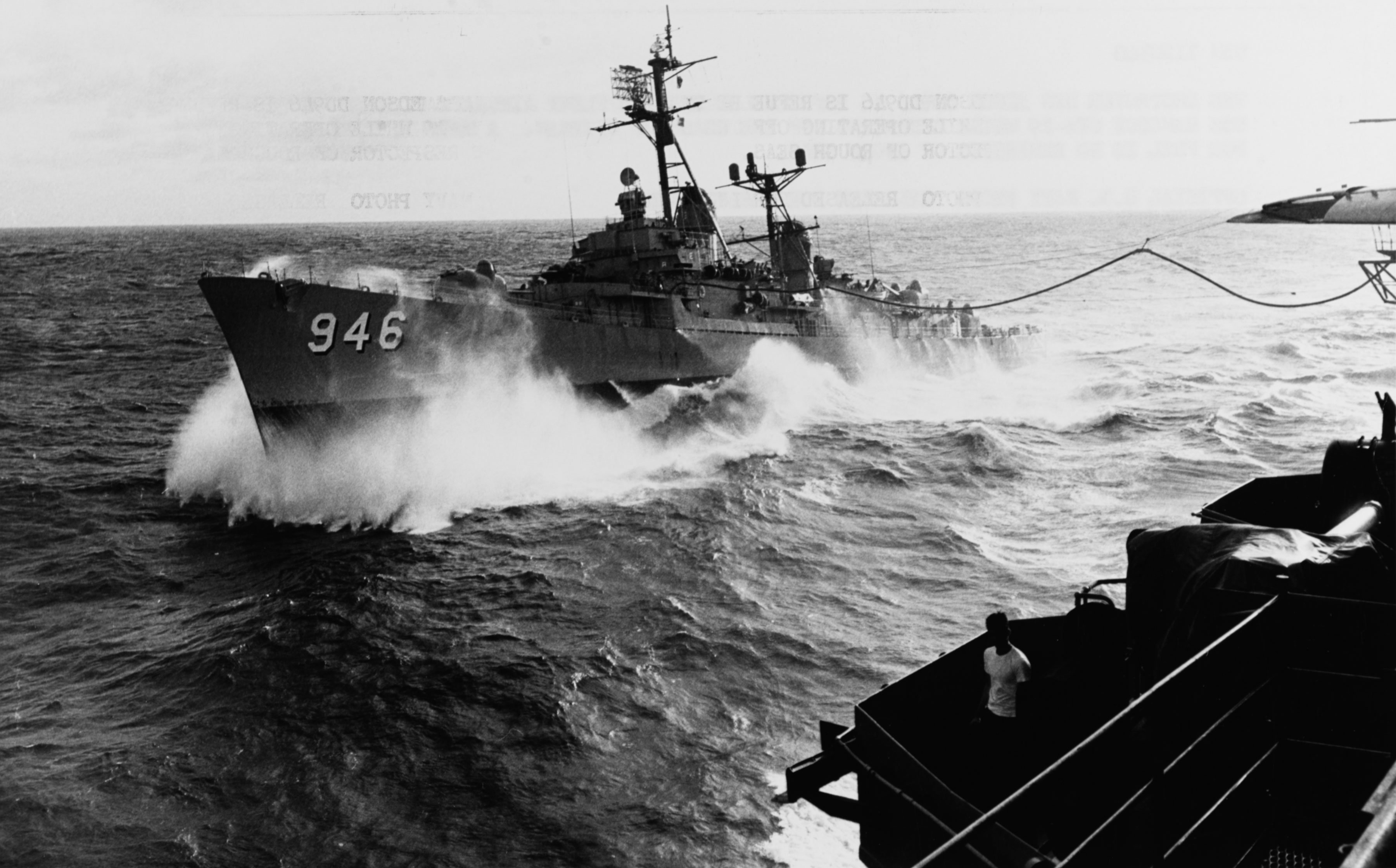 The Edson in heavy seas off the coast of Vietnam