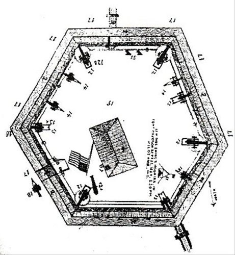 An overhead view of Fort Davidson. The earthen walls were 9-feet tall and 10-feet wide. A dry moat 9-feet deep made the walls extremely difficult to scale. A drawbridge at the SE corner was the only entrance to the fort.